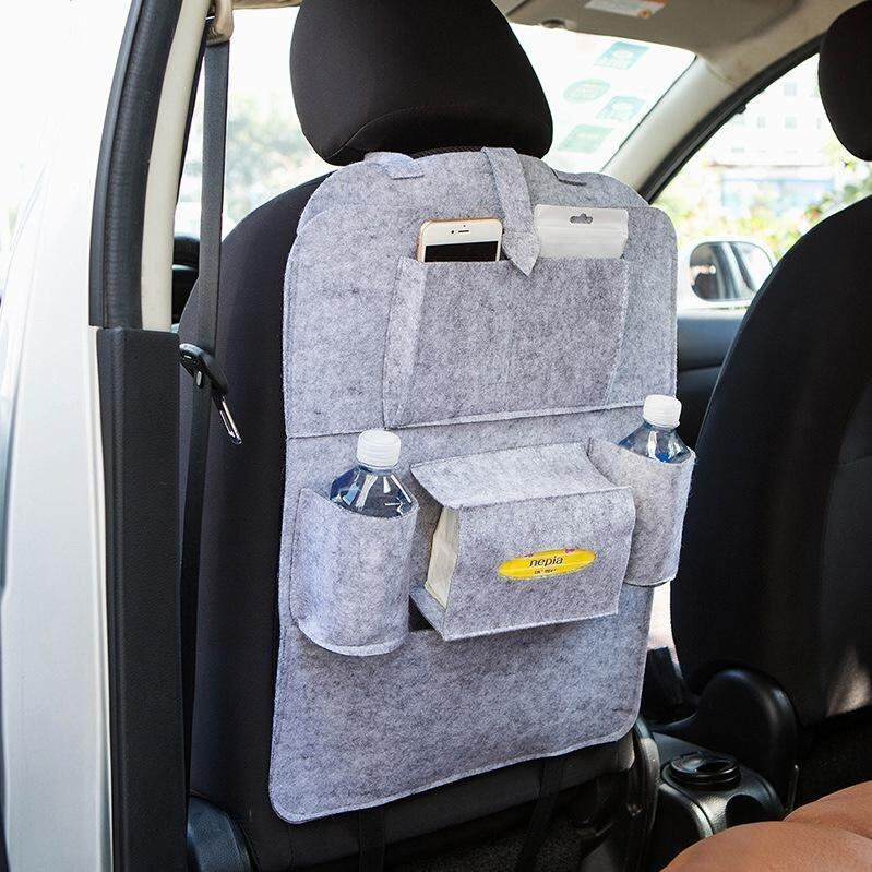 Multifunctional Felt Car Back Seat Storage Bag for Pen/Bottle/Tissue Box/Book Etc - Light Grey - intl