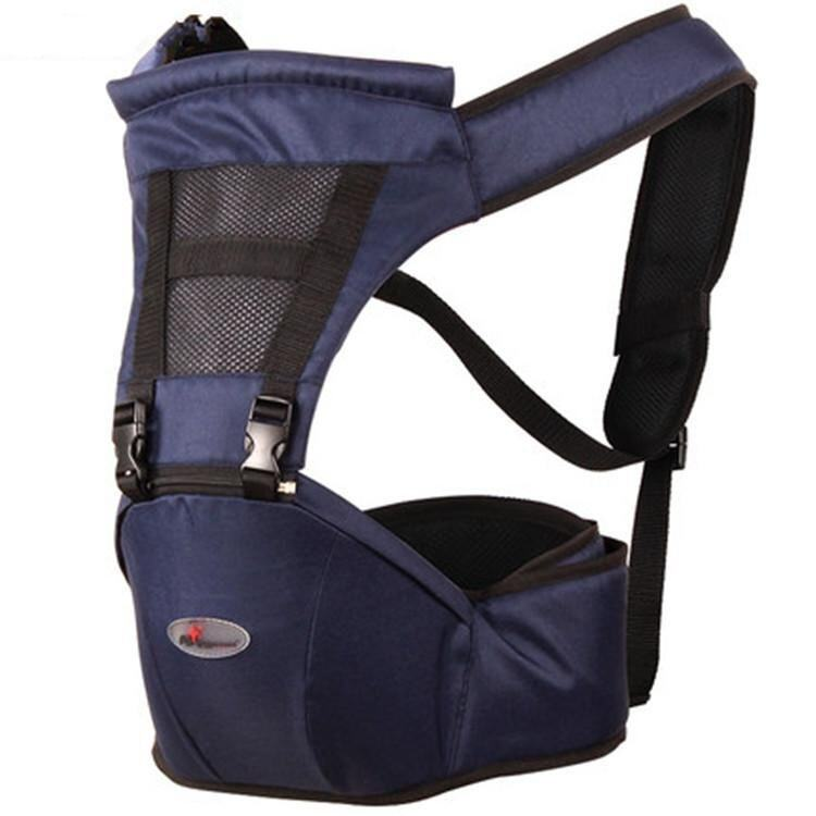 Navy Blue Breathable Multifunctional Double Shoulder Baby Carrier Waist Belt with Waist Stool - intl