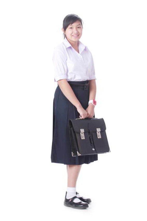Nomjitt เสื้อนักเรียนหญิงม.ปลายปกเชิ๊ต ขนาด 40 แพ็ค 2 ตัว + กระโปรงนักเรียน 6 จีบ สีกรมท่า แพ็ค 2 ตัว