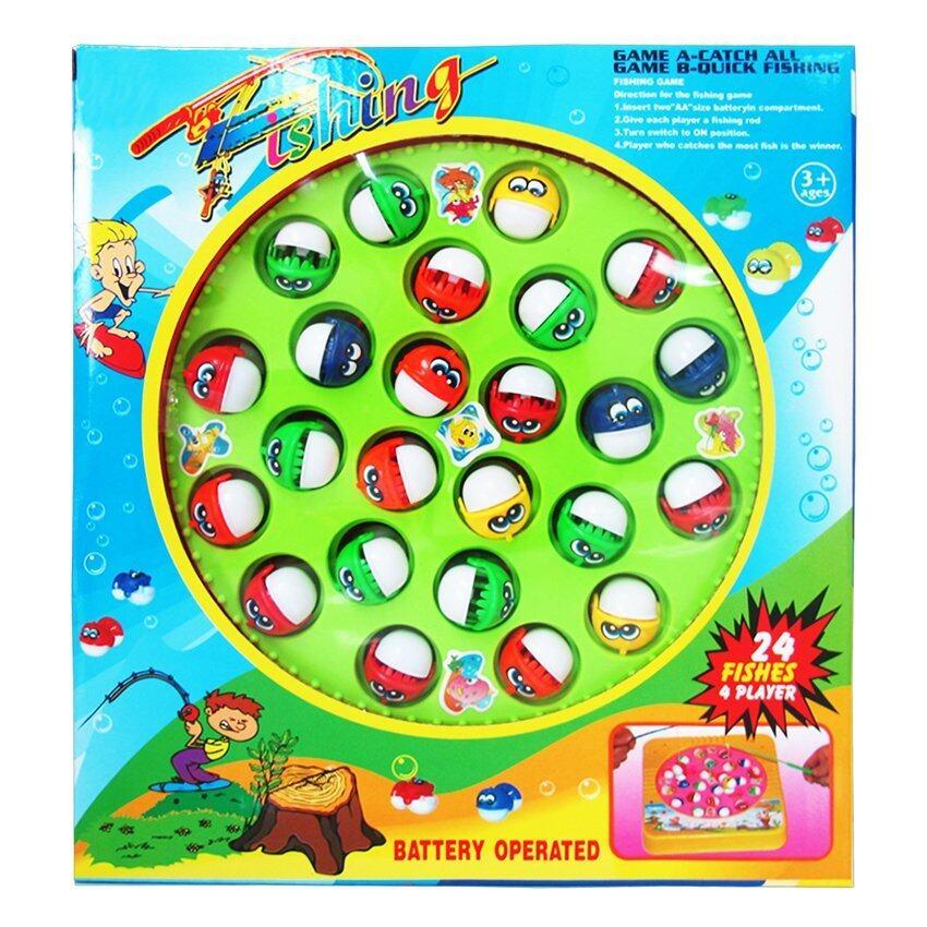 Play Us ตกปลา 24 ตัว+เบ็ด 4 คัน (กล่อง)