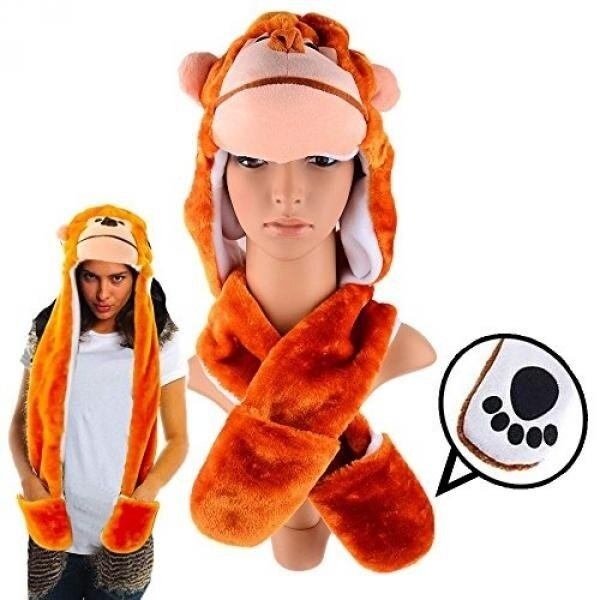 Plush Monkey Hat with Long Paws Multi-functional Novelty Hoodie - intl