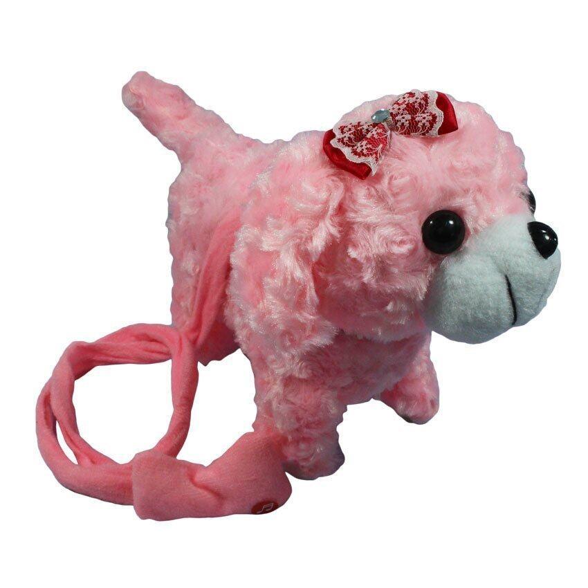 ตุ๊กตา สุนัข เต้น จูงเชือก มีเสียง สีชมพู PNT002-2