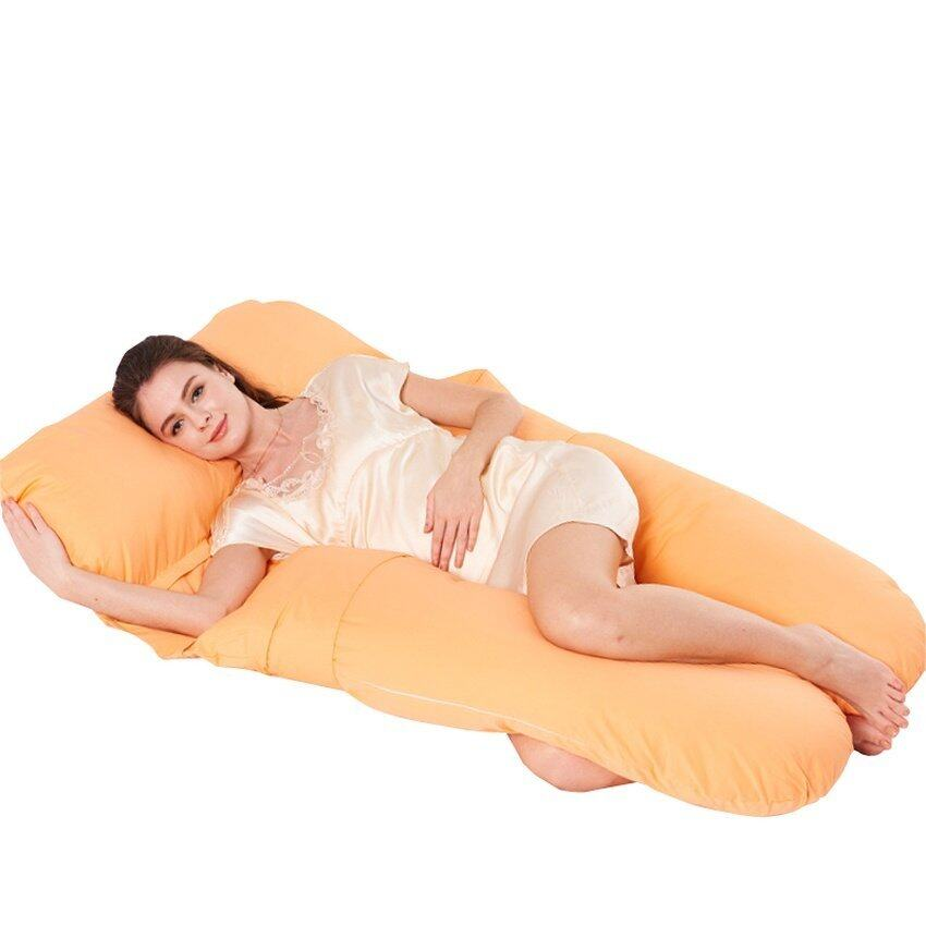 Premium Cotton U-Shaped Maternity Pregnancy Pillow Nursing Sleeping(Orange) - intl