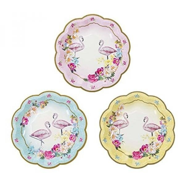 Talking Tables Truly Flamingo 7 Floral Flamingo Paper Plates in 3 Designs for a Birthday or Flamingo Party, Blue/Pink/Yellow (12 Pack) - intl