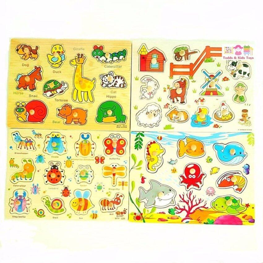 Todds & Kids Toys ของเล่นเสริมพัฒนาการ หมุดไม้จิ๊กซอว์รวมสัตว์ 4 ประเภท (สัตว์ฟาร์ม สัตว์ป่า สัตว์น้ำ เเมลง) ...