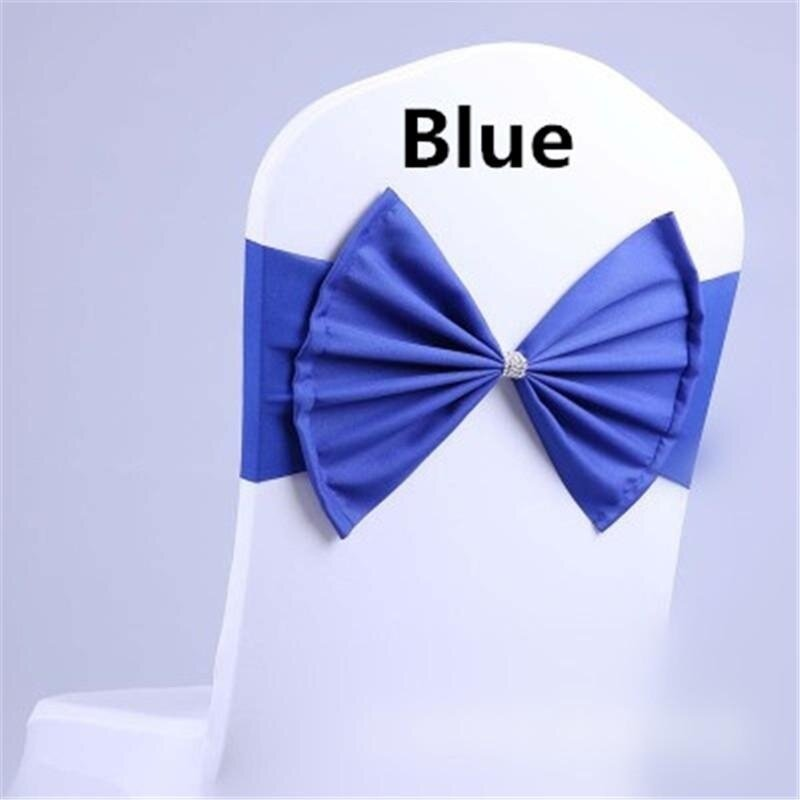 Wedding Chair Sash Tie Bow Acrylic Chair Cover Band Elastic - intl