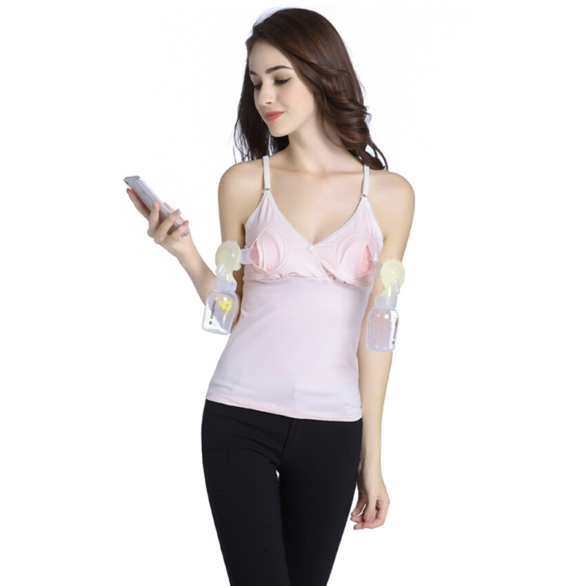 Women Coverage Hands-Free Pumping Nursing Tank Top (Light Pink) - intl