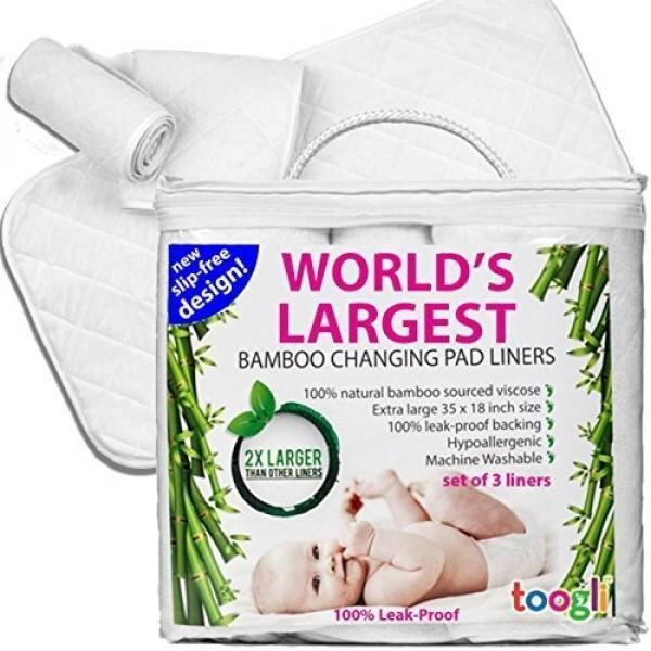 Worlds LARGEST Bamboo Diaper Changing Pad Liners (3 pk) - 35 x 18 In. Complete Waterproof Protection For Your Table and Cover. Makes a Great Travel Change Mat Too. - intl