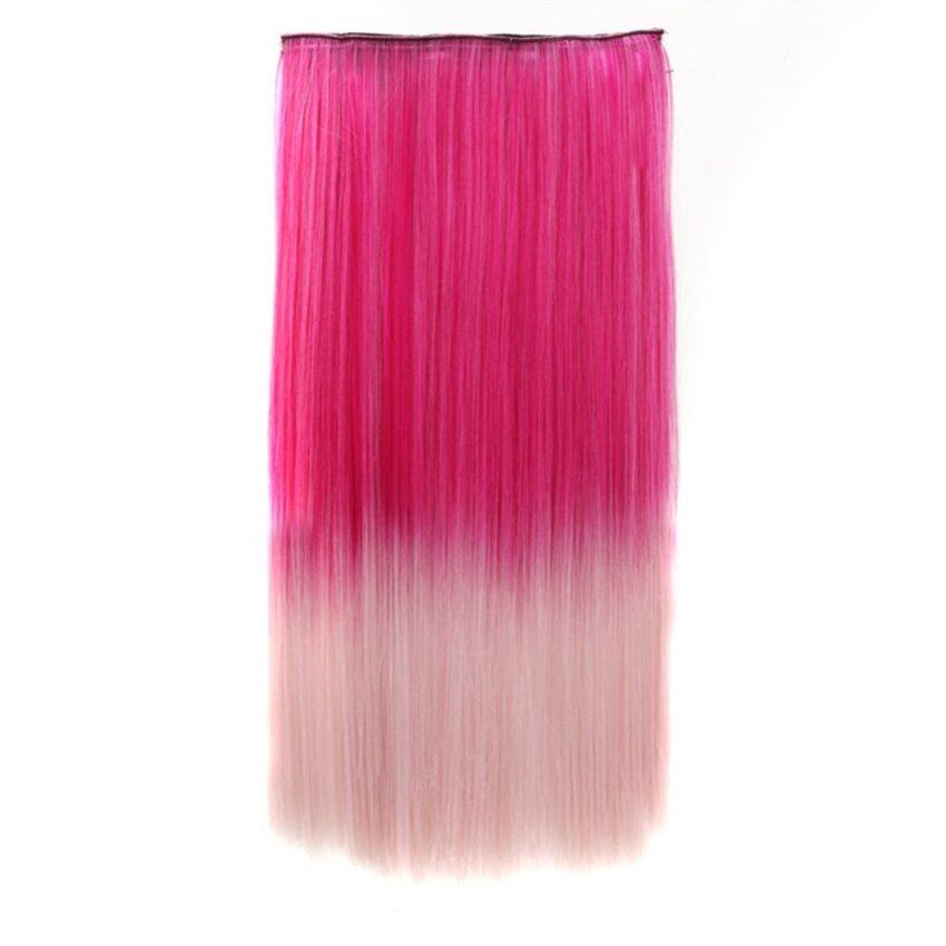 22 Fashion Straight Hair Extension Clip-on Hairpieces Highlight Colors Cosplay Party Hai ...