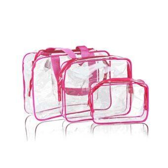 3 in 1 Transparent PVC Waterproof Makeup Bag Travel Toiletry Bag Rose Red & Transparent