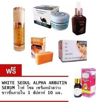 Dr.Q Set Miracle Skin + Snail Serum + สบู่สมุนไพร + ครีมเบต้าไวท์ + Gold Serum Free MELON SOAP WHITE SOAP