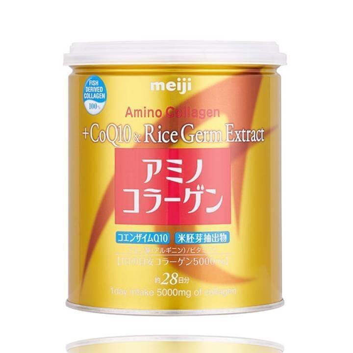 Meiji Amino Collagen + CoQ10 & Rice Germ Extract คอลลาเจนผงจากญี่ปุ่น 5000 มก. + โคคิวเท็นและสารสกัดจากจมูกข้าว 200g ...