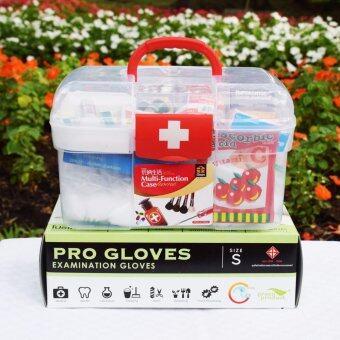 "PK MED ชุดปฐมพยาบาล รุ่น PKA-828 - สีขาว/แดง + PK MED ถุงมือยาง Pro Gloves Size ""S"" - สีขาว"