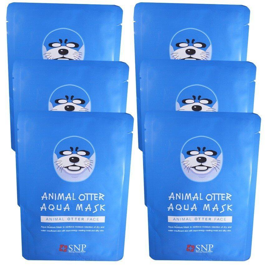 SNP Animal Otter Aqua Mask แผ่นมาส์คหน้ารูปสัตว์ (6 แผ่น)