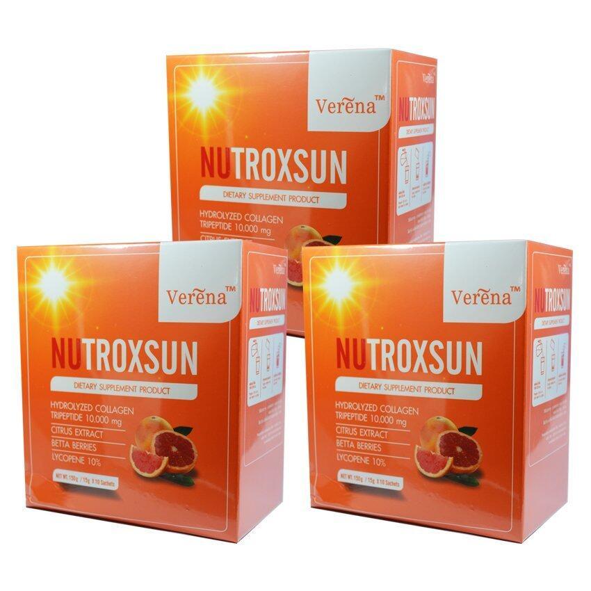 Verena Nutroxsun เวอรีน่า นูทรอกซ์ซัน คอลลาเจน ลดฝ้า ป้องกันแสงแดด หน้าอ่อนเยาว์ บรรจุ 10 ซอง (3 กล่อง)