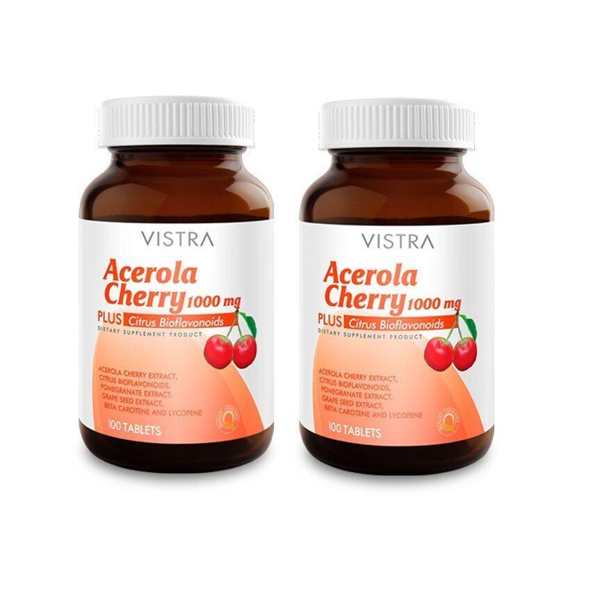 VISTRA Acerola Cherry 1000 mg. (100 เม็ด) แพ็ค 2 ขวด ...