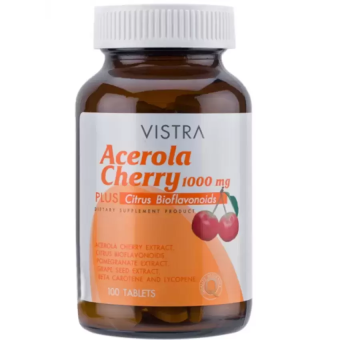 Vistra Acerola Cherry 1000mgวิสทร้า อะเซโรลาเชอร์รี่1000มก. 100เม็ด
