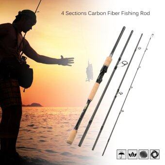 2.1m 4 Sections Carbon Fiber Portable Baitcasting Spinning FishingRod Medium Rod Fishing Pole for Saltwater and Freshwater - intl