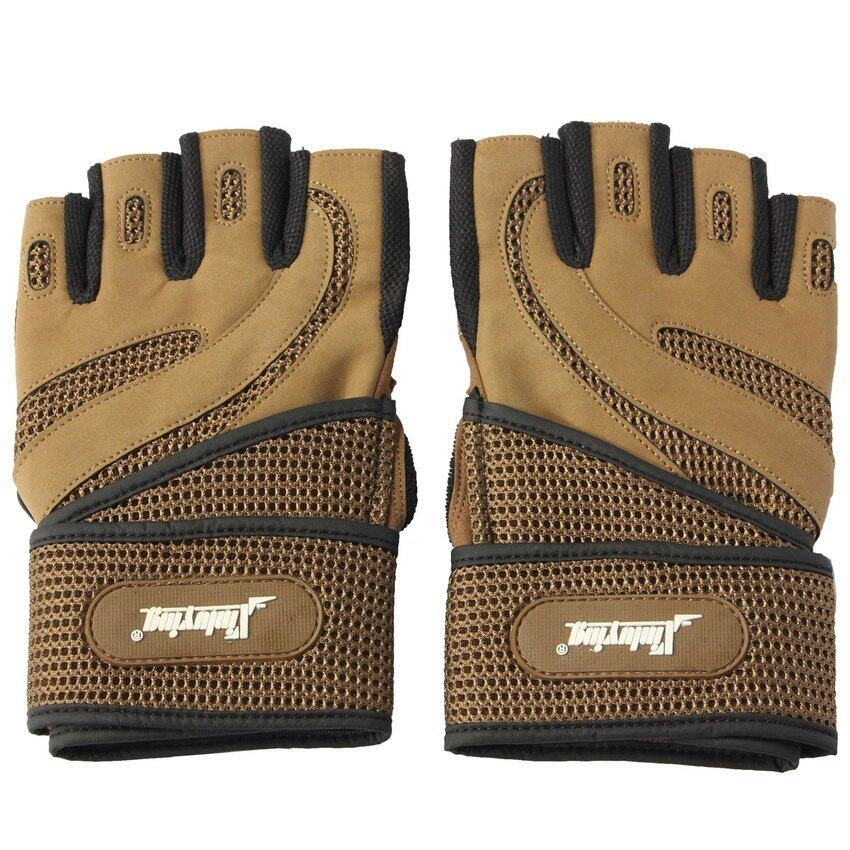 2X Weight Lifting Half Gloves Gym Training Fitness Exercise Withwrist Strap Brown M - in .