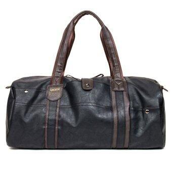360DSC Man's Large Capacity PU Leather Duffel Tote Shoulder Handbag Travel Bag Gym Sports Bag - Black