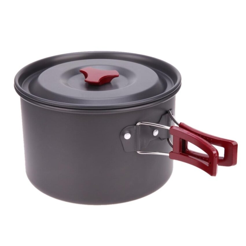 3L Oxidation Aluminum Single Pot Non-stick Hiking Fishing Picnic Cookware - intl