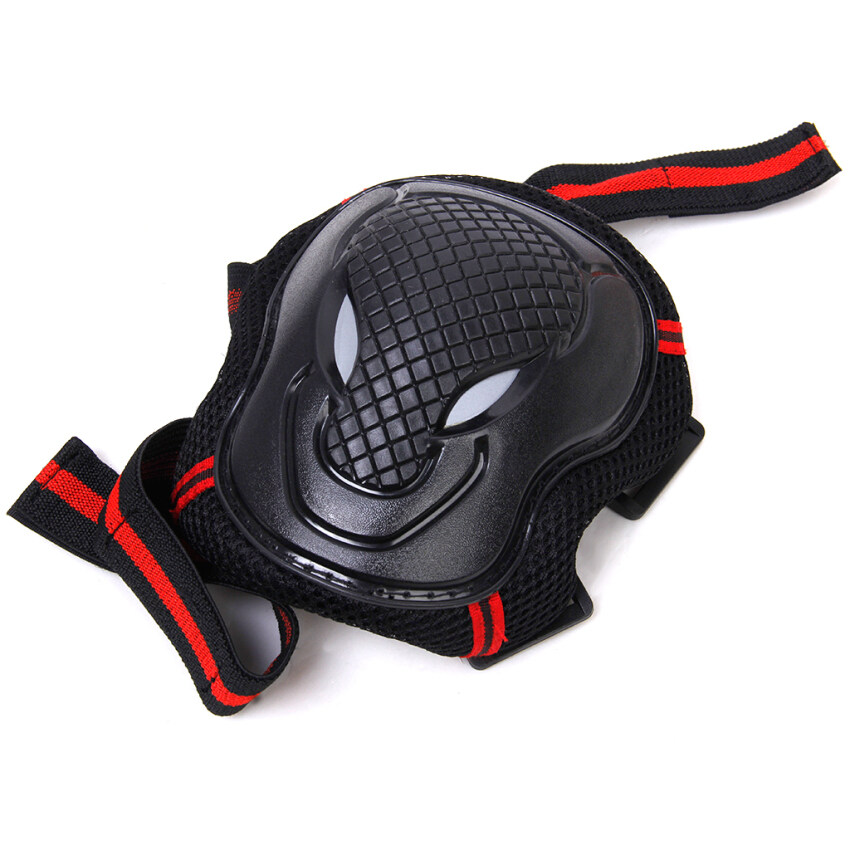 6pcs Skateboard Elbow Knee Wrist Protective Gear Pad Black Red Size S