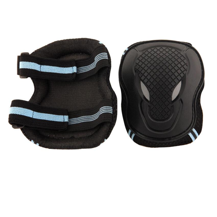 6pcs Skating Roller Elbow Knee Wrist Gear Pad Guard Set Black Blue Size L