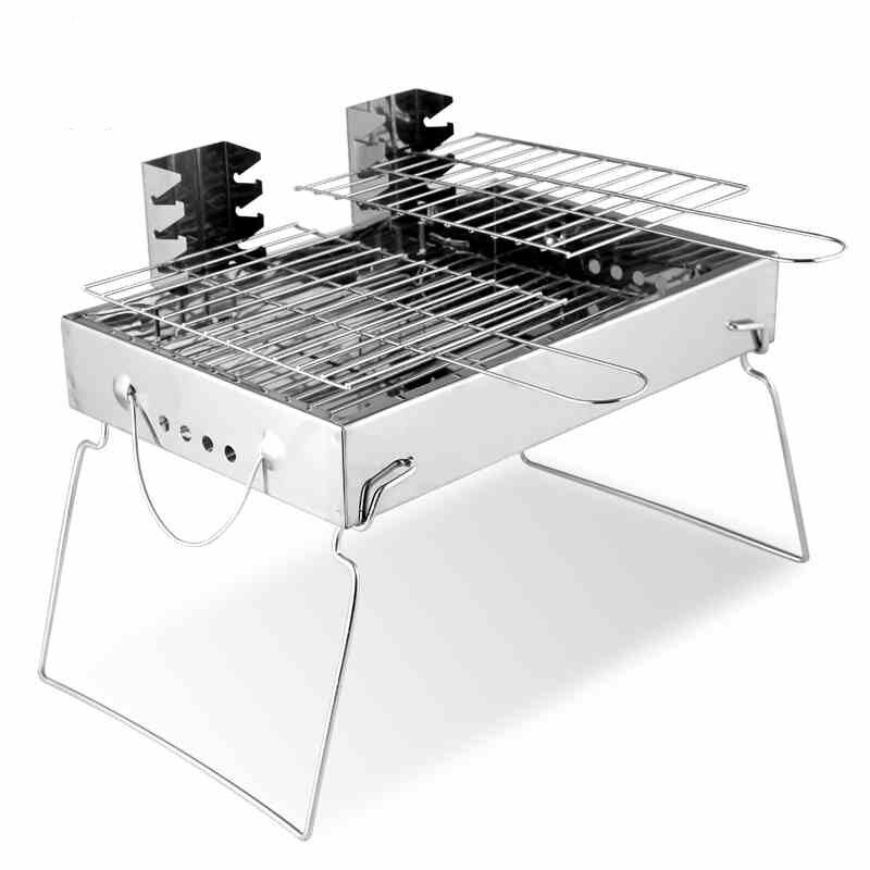 Addie 5311 Barbecue Grill, Stainless Steel Outdoor Grill, Portable Charcoal Household Thickening and Folding Lovers Oven - intl