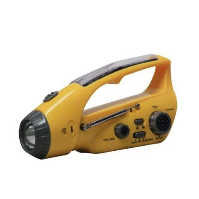 Bear Motion BMXLN-288DS Self-Powered Dynamo AM/FM Radio with Flashlight, Solar Power and Cell Phone Charger – Yellow- Intl