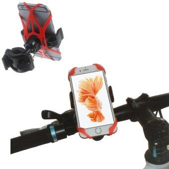 Bike Handlebar Mount Holder with Rubber Bind Strap for iPhone 6s Plus / Galaxy Note5 Etc - Red