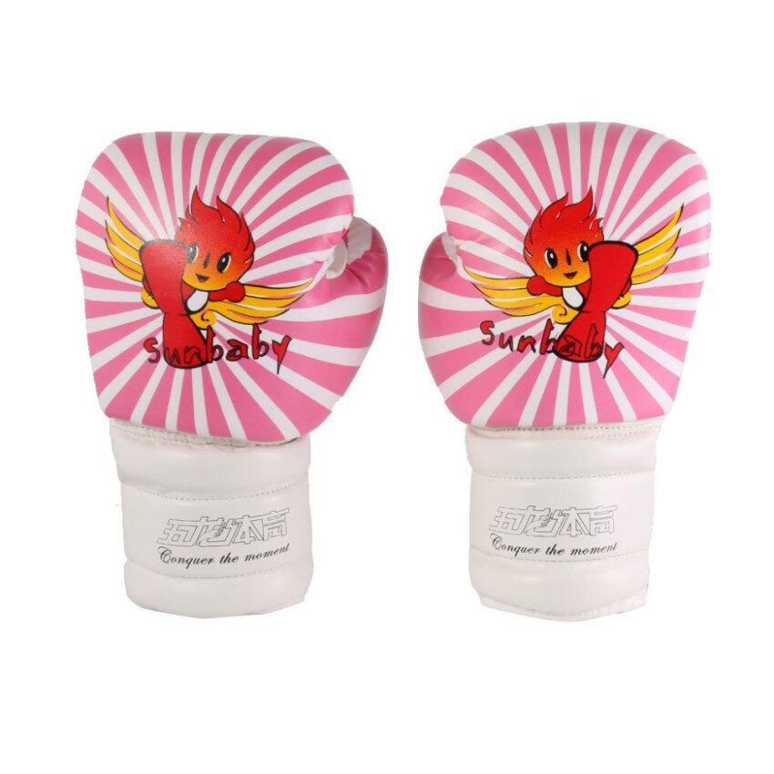 BolehDeals Kid PU Leather Kickboxing MMA Training Punching Bag Boxing Gloves-Pink White