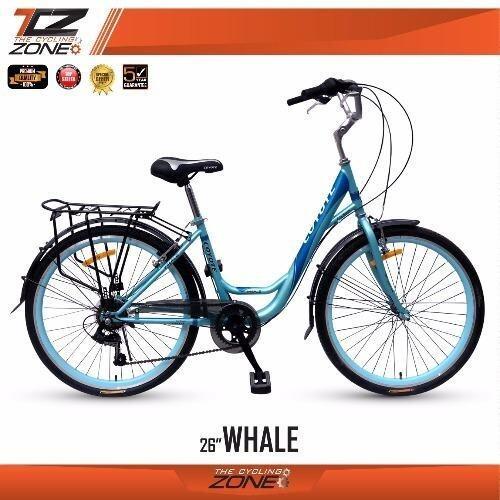 จักรยานCOYOTE จักรยานแม่บ้าน ขนาด 26 นิ้ว / เกียร์ SHIMANO 6 สปีด / รุ่นWHALE (สีฟ้า)