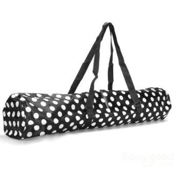 Fitness Yoga Mat Tote Bag Pocket Sturdy Nylon Shoulder Strap Gym Gear Carryall(Black )