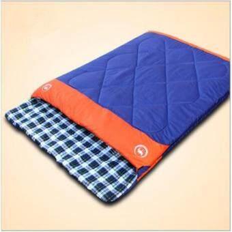 Genuine Outdoor Camping Hiking 3 In 1 Wide Waterproof Couples Sleeping Bag -10~5~20℃(Blue) - intl