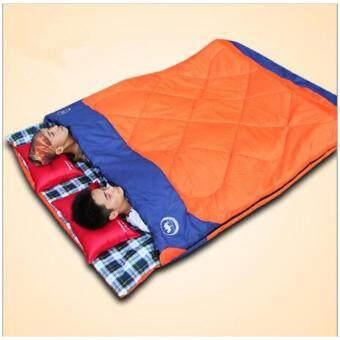 Genuine Outdoor Camping Hiking 3 In 1 Wide Waterproof Couples Sleeping Bag -10~5~20℃(Orange) - intl