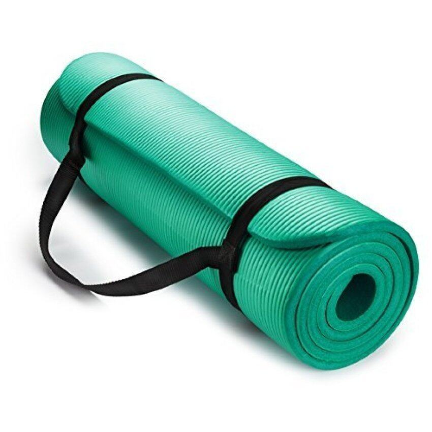 HemingWeigh 1/2-Inch Extra Thick High Density Exercise Yoga Matwith Carrying Strap (Teal ...