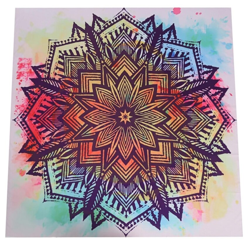 Hot Sale Astar Square Indian Mandala Print Floral Tapestry Boho Wall Hanging Beach Yoga Mat - intl