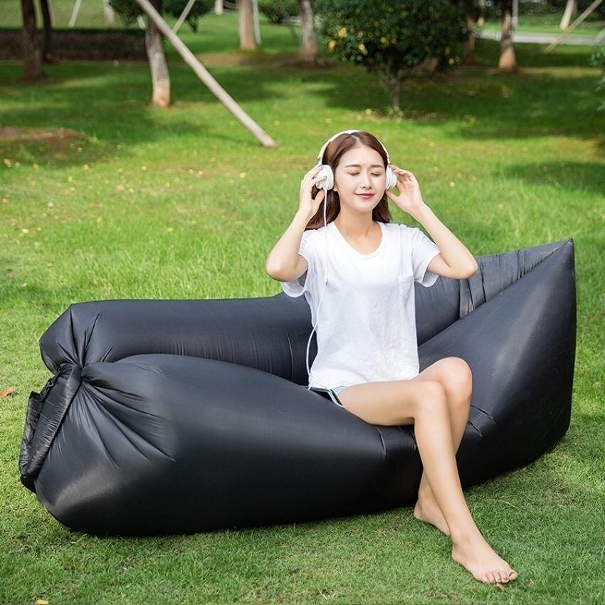 Inflatable Lounger, Portable Air Beds Sleeping Sofa Couch Fortraveling, Camping, Beach, Park, Backyard With Bag Pocket - intl