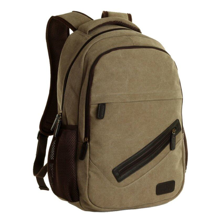 Korean style tide trend college students canvas backpack coffee (Intl) ...