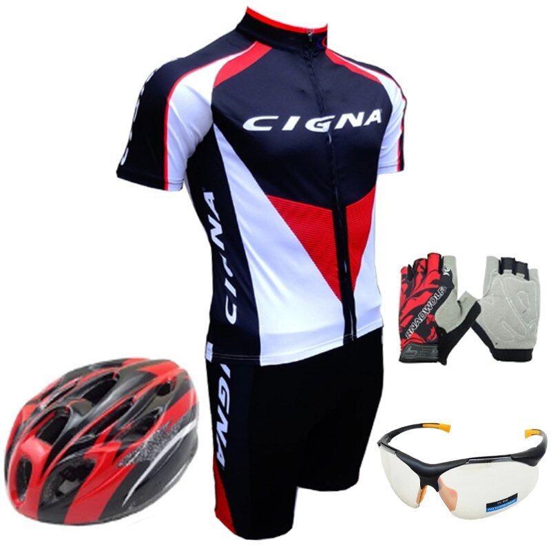 Morning ชุดปั่นจักรยานผู้ชาย Cigna (สีดำ)+หมวกจักรยาน+แว่นตา + ถุงมือฟรีไซด์ (สีแดง)