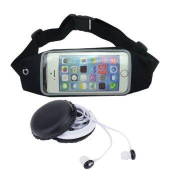 Morning กระเป๋าคาดเอว Smart Phone Extreme Fitting Belt (สีดำ)+Sibyl หูฟัง มาการอง รุ่น M-85 (สีดำ)