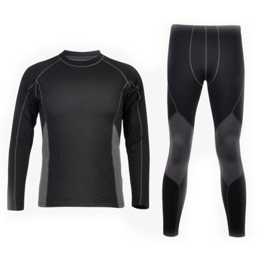 New Hot Warm Anti-static Thermal Fleece Lined Sportswear Set Underwear Black ...