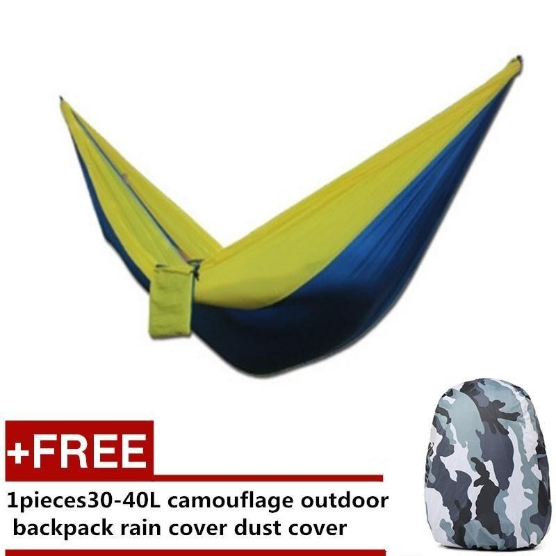 Outdoor Camping Activities Necessary Accessories 2 People Hammock - sapphire-yellow+Free Backpack Rain Cover/dust Cover (Buy 1 Get 1 Free) - intl