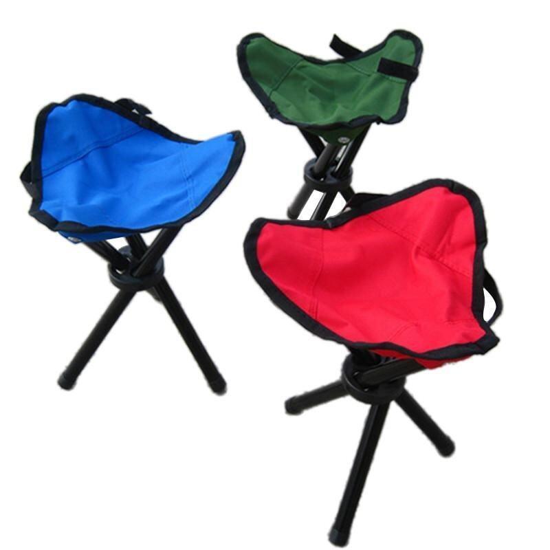 Outdoor Three-Legged Foldable Folding Stool Camping Beach Fishing Travel chair - intl .