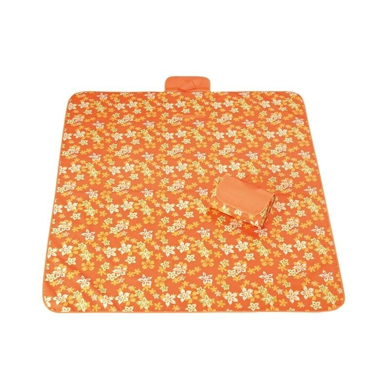 Picnic Mat Striped Handy Mat with Strap Mildew Resistant and Waterproof for Picnics and Beaches(Unfoldable size:145*150cm)Orange& Flower - intl