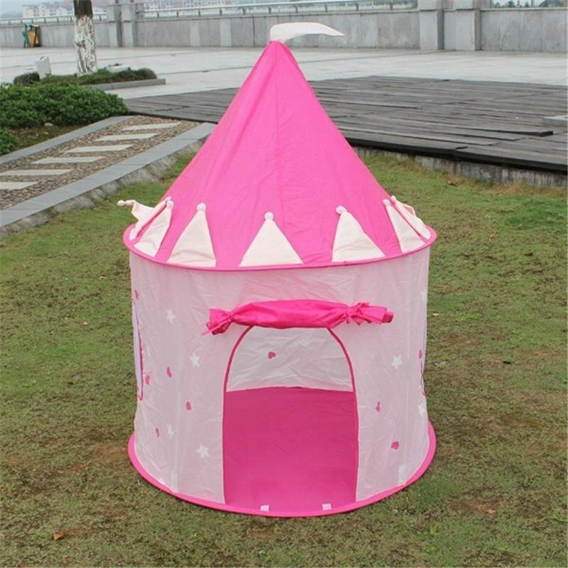 Pink Prince Folding Tent Kids Children Boy Castle Cubby Play House for Kids - intl