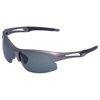 Polarized Sports Sunglasses for Running Cycling Fishing Golf Tr90 Unbreakable Frame (Grey Frame Green Lens)
