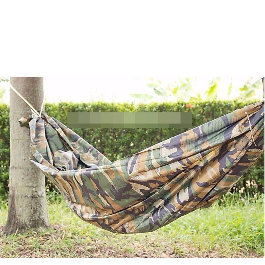 เปลทหาร เปลญวน สำหรับนอนในป่า เปลผ้าร่ม เปลเดินป่า เปลผ้าไนล่อน ผ้า poly เนื้อดีเย็บทบ 2ชั้น เนื้อเย็นไม่ร้อน รับน้ำหนักได้ 2 คน (เปลลายทหาร)