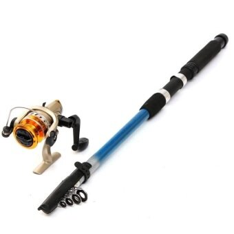 Portable Carbon Fibre Telescopic Travel Fishing Lure Rod Pole + Spinning Reels 2.7 - intl