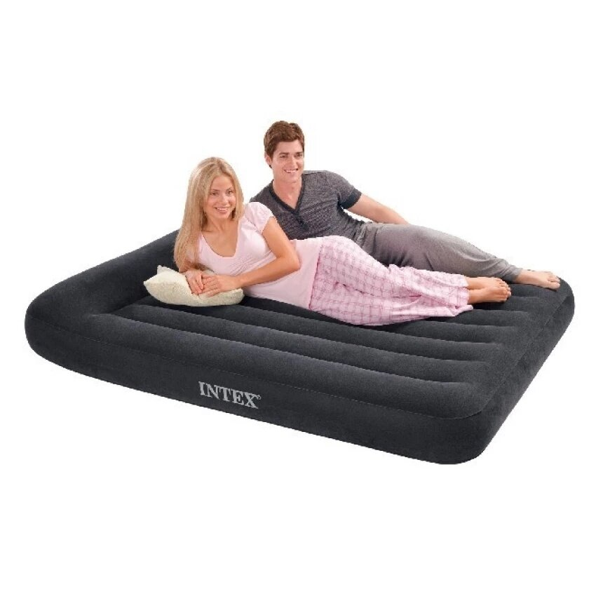 【Promotion】INTEX66768 Original Double, Built-in Pillow, Air Cushion Bed, Inflatable Mattress, Outdoor Camping Bed - intl image